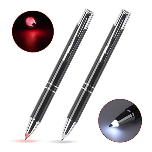 GS Glowseen Lighted tip Penlight,LED Ballpoint Flashlight Writing Pens for Night Writer - 2 PK (Red & White Light)