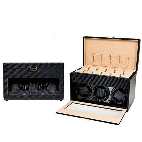DSHUJC Watch Winder and Storage Box for Winding 3 Automatic Watches and 12 Watch Storage Space or Automatic Watches AC Or Battery Powered Super Quiet Japanese Motor Watch Winders,A