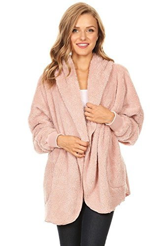 T Party Womens Faux Shearling Jacket with Hood, Long Sleeves, Open Front, and Waist Pockets // Dusty Pink S