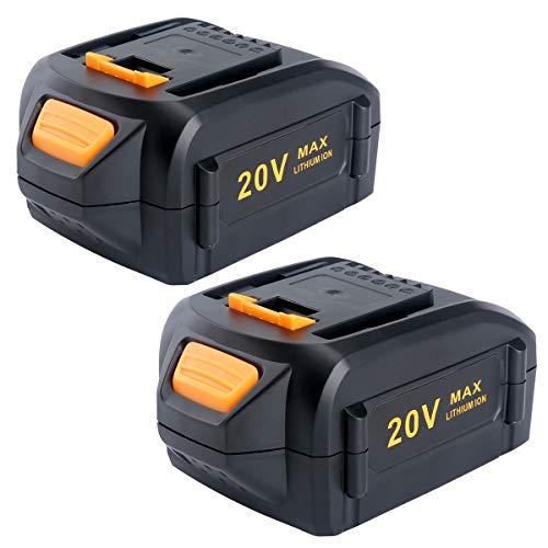 Lasica 2-Pack 5.0Ah Lithium Ion Replacement for Worx 20V Battery WA3578 WA3575 Compatible with Worx 20V Cordless PowerShare Tools WX550L WG629 WG547 WG545 WG644.9 and Worx 20V Lithium Battery Charger