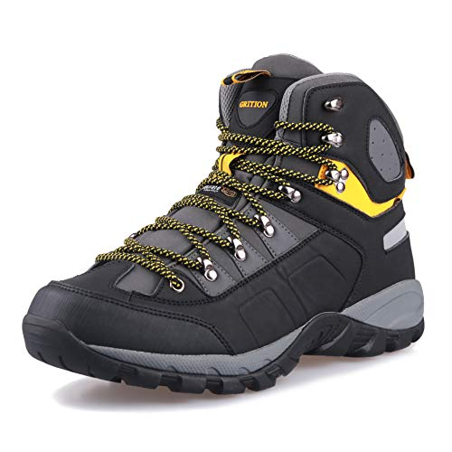 GRITION Men's Hiking Boots Waterproof High Top Winter Warm Outdoor Lightweight Walking Lace Up Anti-Slip Breathable Comfort Ankle Boots Casual Trekking Travelling Shoes (12.5 US/46 EU, Black/Yellow)