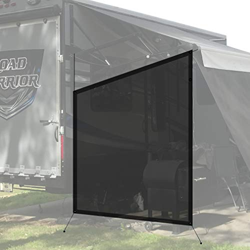 Shadeidea RV Awning Sun Shade Screen for Side Panel - 9' 6'' X 7' 6'' -Black Mesh Sunshade Motorhome Camping Trailer UV Sunblocker Canopy Sunscreen Offer 3 Years Lasting