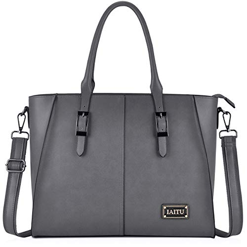 Women Laptop Bag,Large Work Tote Bags with Padded Compartment Woman Briefcase Designer Laptop Bags 15.6(Gray)