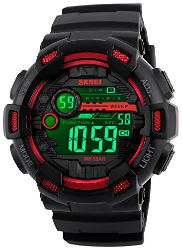 Mens Digital LED Sports Watch Military Multifunction Dual Time Alarm Countdown Stopwatch 12H/24H Time Backlight 164FT 50M Waterproof Calendar Month Day Date Watch (Black Red)