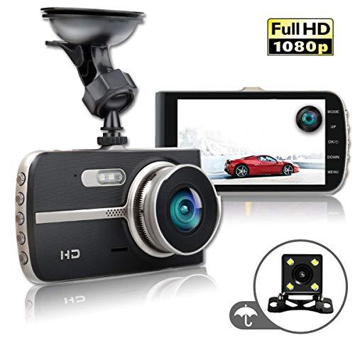 Dash Cam 4 Inch Car Camera-Car Camcorder Super HD 1080P IPS Display Recorder with Front+VGA Rear 290°Super Wide Angle Built-in G-Sensor Night Vision Recording Loop Recording