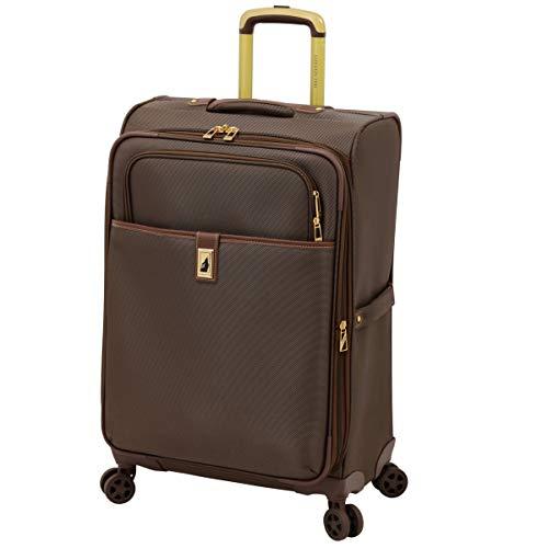 LONDON FOG Kensington II Softside Expandable Spinner Luggage, Bronze, Checked-Medium 25-Inch