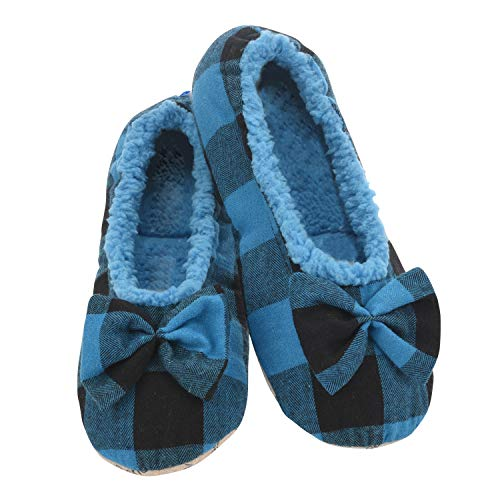 Snoozies Slumbies Slippers for Women - Buffalo Plaid Ballerina Womens Slippers - Fuzzy House Slippers for Women - Lightweight Slippers - Blue - Medium
