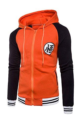 Japanese Anime Dragon Ball Z Goku Symbol Zip Hoodies Sweatshirt Costumes (XXlarge, Orange/Black)