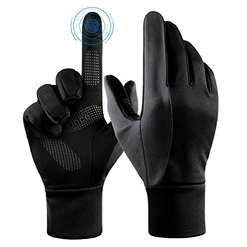 Running Gloves Touch Screen Winter Warm Glove - Windproof Water Resistant for Cycling Driving Phone Texting Outdoor Hiking Climbing in Cold Weather for Women and Men (Black-Gray,Small)