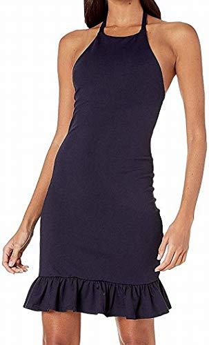 Susana Monaco Halter Dress with Gathered Ruffle Hem Midnight SM