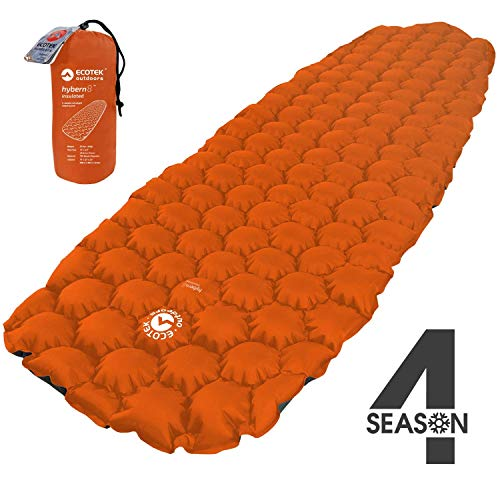ECOTEK Outdoors Insulated Hybern8 4 Season Ultralight Inflatable Sleeping Pad with Contoured FlexCell Design - Easy, Comfortable, Light, Durable, Hammock Approved - Sub Zero Temp Rating [Fire Orange]