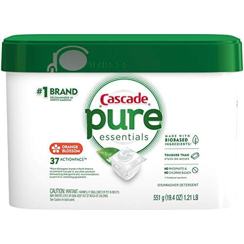 Cascade Pure Essentials Dishwasher Detergent, Orange Blossom, 37 Actionpacs, Total 1.21 Lb
