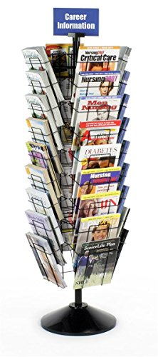 Displays2go 59 Inch Standing Rotating Wire Magazine Stand with 36 Compartments, Floor Standing, Wire Construction – Black (WSFM936PB)