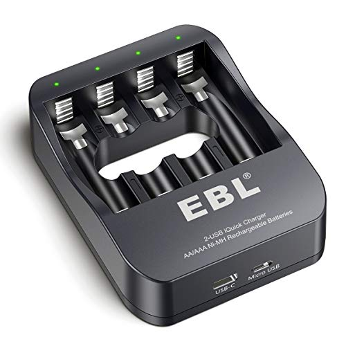 EBL Smart AA AAA NiMH Rechargeable Battery Charger - 2A USB Charging Port 2 Hour Quick Charger
