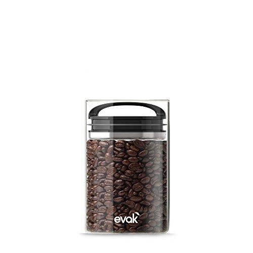 Prepara, Black Gloss handle, Evak Fresh Saver Airless Canister, Glass & Stainless, Small, Medium
