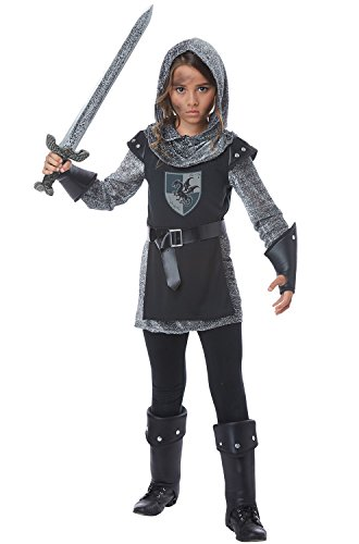 California Costumes Noble Knight Girls Costume, Black/Silver, Medium
