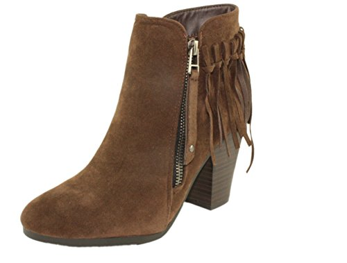Breckelle's Women's Gail-26 Faux Suede Almond Toe Block Stacked Heel Fringe Trim Ankle Booties (11, Brown)