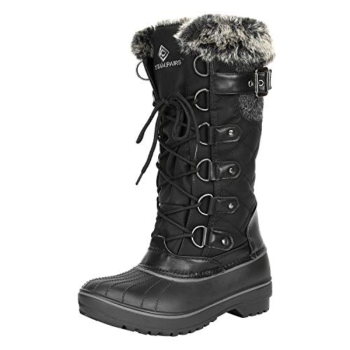 DREAM PAIRS Women's DP-Avalanche Black Faux Fur Lined Mid Calf Winter Snow Boots Size 8 M US