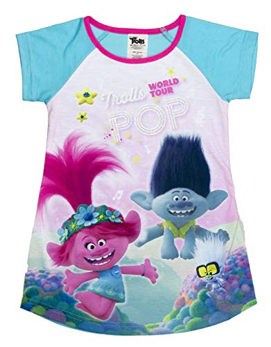 DREAMWORKS TROLLS Nightgown Pajama,World Tour Poppy & Branch Trolls Movie, Turquoise, Toddler Girl Size 4T