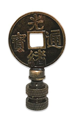 Royal Designs Asian Symbols 2.25' Lamp Finial for Lamp Shade, Antique Brass