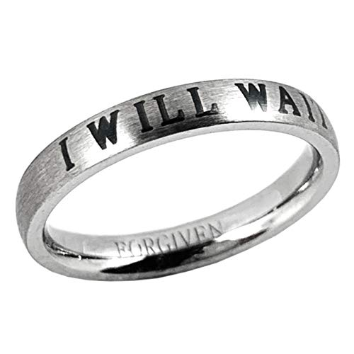 RSWA Forgiven Jewelry-I WILL WAIT Stackable Purity Thin Band Stainless Steel Ring-Christian Jewelry