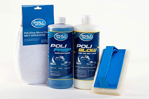 Poli Glow kit boat RV fiberglass/gel coat restoration with UV inhibitors, water-based polymers, 32 ounce Poli Glow, 32 ounce Poli Prep, micro fiber mitt applicator scrub pad w/ handle