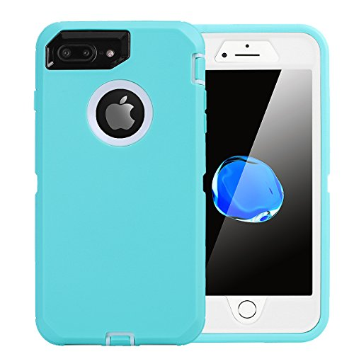 AICase iPhone 8 Plus/7 Plus Case, [Heavy Duty] [Full Body] Tough 4 in 1 Rugged Shockproof Cover with Built-in Screen Protector for Apple iPhone 8 Plus/7 Plus (White/Light Blue)