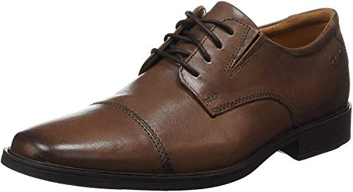 Clarks Men's Tilden Cap Oxford Shoe,Dark Tan Leather,9.5 M US