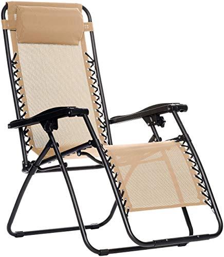 Amazon Basics Outdoor Zero Gravity Lounge Folding Chair, Beige
