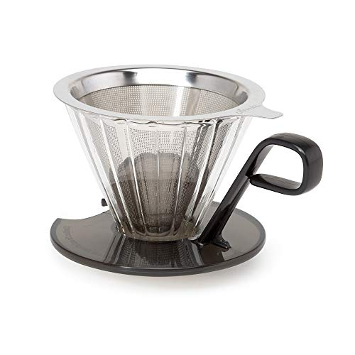 Primula PPOCD-6701 1-Cup Stainless Steel Pour Over Coffee Maker, 4.8 x 4.8 x 4.8 inches, Black