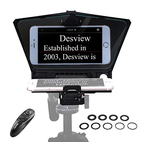 【Desview Official】 Desview-T2-Teleprompter for Smartphone Tablet DSLR Camera Teleprompter Kit Beam Splitter 70/30 Glass with Remote Control & Lens Adapter Rings