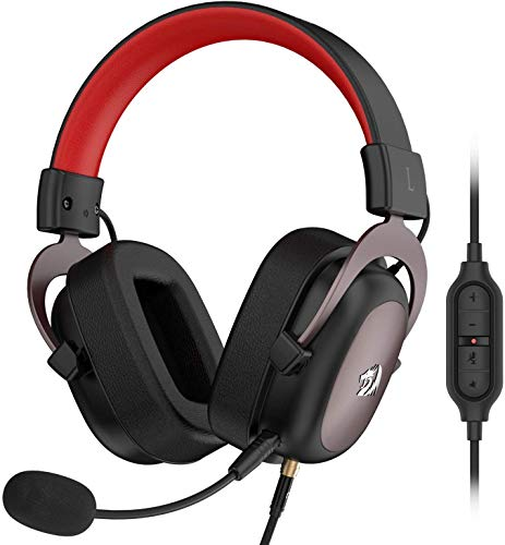 Redragon H510 Zeus Wired Gaming Headset - 7.1 Surround Sound - Memory Foam Ear Pads - 53MM Drivers - Detachable Microphone - Multi Platforms Headphone - Works with PC, PS4/3 & Xbox One/Series X, NS