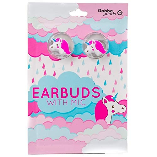 GabbaGoods Earbuds with Mic, Pink Unicorn