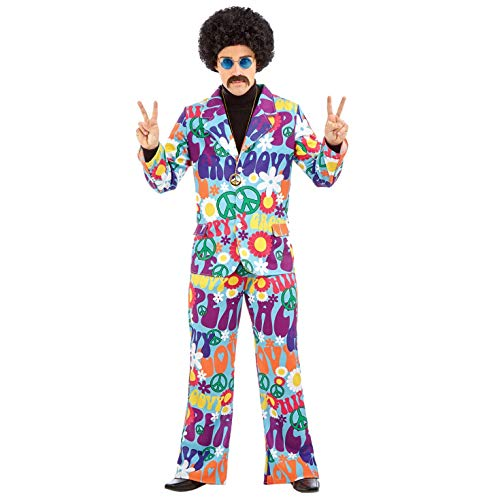 Mens 70s Groovy Hippie Costume Adults 60s Flower Power Hippy Suit - Large