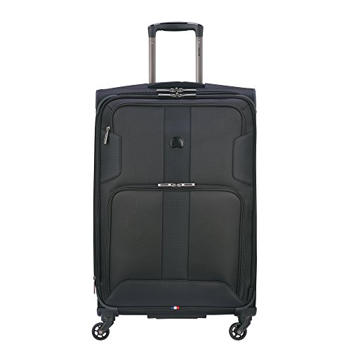 DELSEY Paris Sky Max 2.0 Softside Expandable Luggage with Spinner Wheels, Black, Checked-Medium 25 Inch