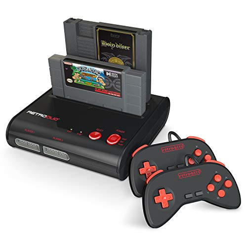 Retro-Bit Retro Duo 2 in 1 Console System - for Original NES and SNES Games - Black/Red