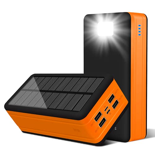 PSOOO Solar Power Bank 50000mAh Phone Charger for Caming Supply with 4 Output 2 Input Ports Type C USB Charging Flashlight Huge Capacity (Orange)