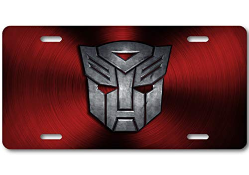 Voss Collectables Transformers Autobot Stone Logo Aluminum Car Truck License Plate Tag (Red)