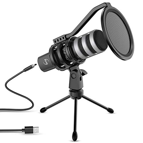 ZINGYOU USB Microphone Bundle Desktop Computer Mic for Gaming Podcasting Recording Vocals Singing 192kHz/24Bit Compatible with Windows macOS Laptop Computer, ZY-UD1 Silver