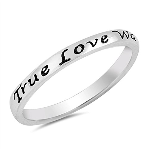 True Love Waits Heart Script Ring .925 Sterling Silver Promise Band Size 7