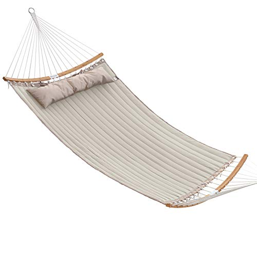SONGMICS Hammock, Padded Double Hammock, Quilted Hammock with Hanging Straps, Detachable Curved Spreader Bars, Pillow, 78.7 x 55.1 Inches, Load Capacity 495 lb, Cream and Beige UGDC034M01