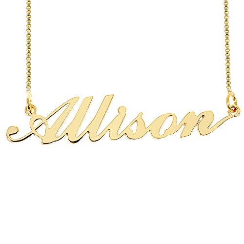 Custom Personalized Initial Birthstone Name Necklace Pendant with Box Chain 18K Gold Gifts for Women (Allison)