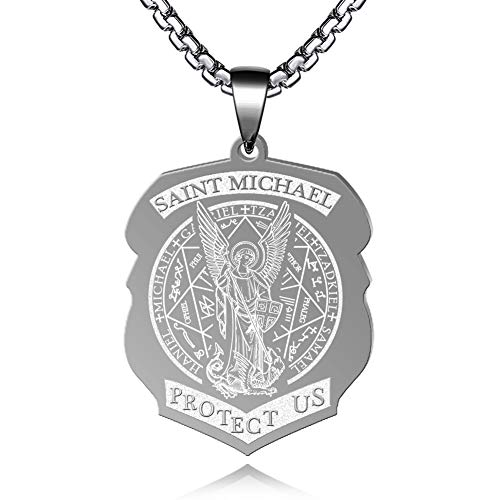 FLYUN Seals of The Seven Archangels Pendant Choker Statement Silver Stainless Steel Necklace (B1-Steel)