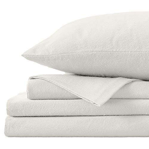 Great Bay Home Extra Soft 100% Turkish Cotton Flannel Sheet Set. Warm, Cozy, Heavyweight, Luxury Winter Deep Pocket Bed Sheets in Solid Colors. Nordic Collection (California King, Pristine Ivory)