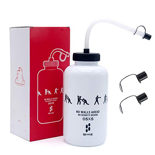 Water Bottle,Hockey Football Boxing Water Bottle with Long Straw BPA Free,Squeezable Leak Proof Sports Water Bottles, Perfect for Baseball Lacrosse Cycling, SHOKE Sport Large Capacity 32 Oz/1 Liter