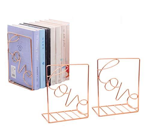 SHDZKJ Metal Bookends 1 Pair, Love Sign Modern Decorative Bookend Bookshelf, Vertical Folder, Magazine Storage Rack (Rose Gold)