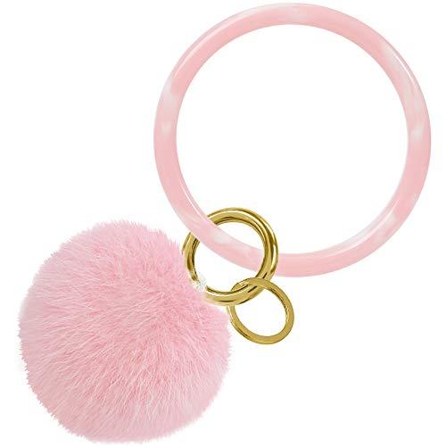 Keychain Bracelet, Resinous Key Ring Bracelet with Pom Pom Keychains for Women