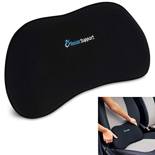 Relax Support RS13-S Car Seat Back Support Pillow - Full Memory Foam, Adjustable Dual Straps, Medium Firm - Promotes Good Spinal Posture & Comfortable Sitting While Driving - Soft & Washable Cover