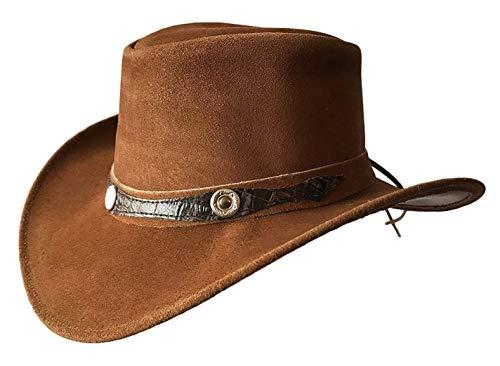 BRANDSLOCK Mens Vintage Wide Brim Cowboy Aussie Style Western Bush Hat (X-Large, Tan)