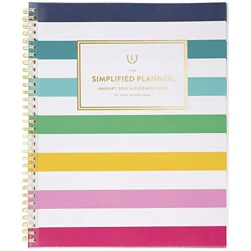 Simplified by Emily Ley 2020 Weekly & Monthly Planner, 8-1/2' x 11', Large, Customizable, Happy Stripe (EL301-901-20)